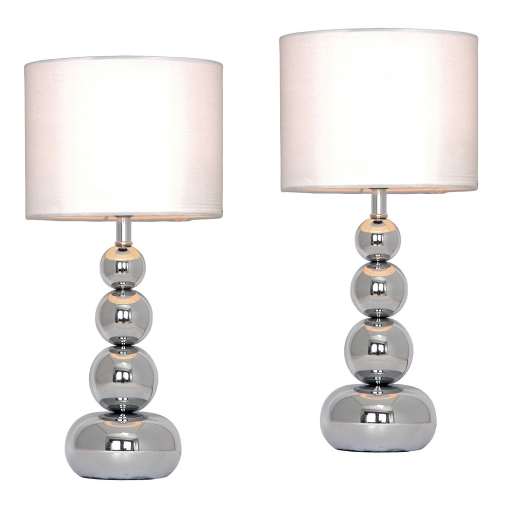 Pair of modern silver chrome white touch bedside lounge for Modern bedside table lamps