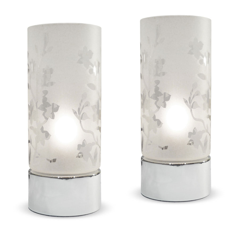 Pair of Chrome Frosted Glass Touch Dimmer Bedside Table Lights Dimmable Lamps : eBay