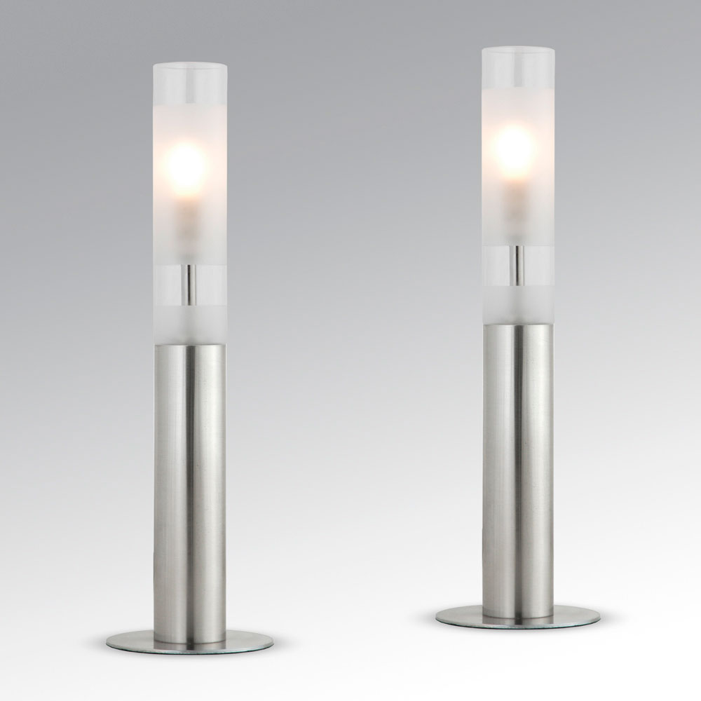 pair of modern silver chrome glass touch dimmer bedside table lights lamps ebay. Black Bedroom Furniture Sets. Home Design Ideas