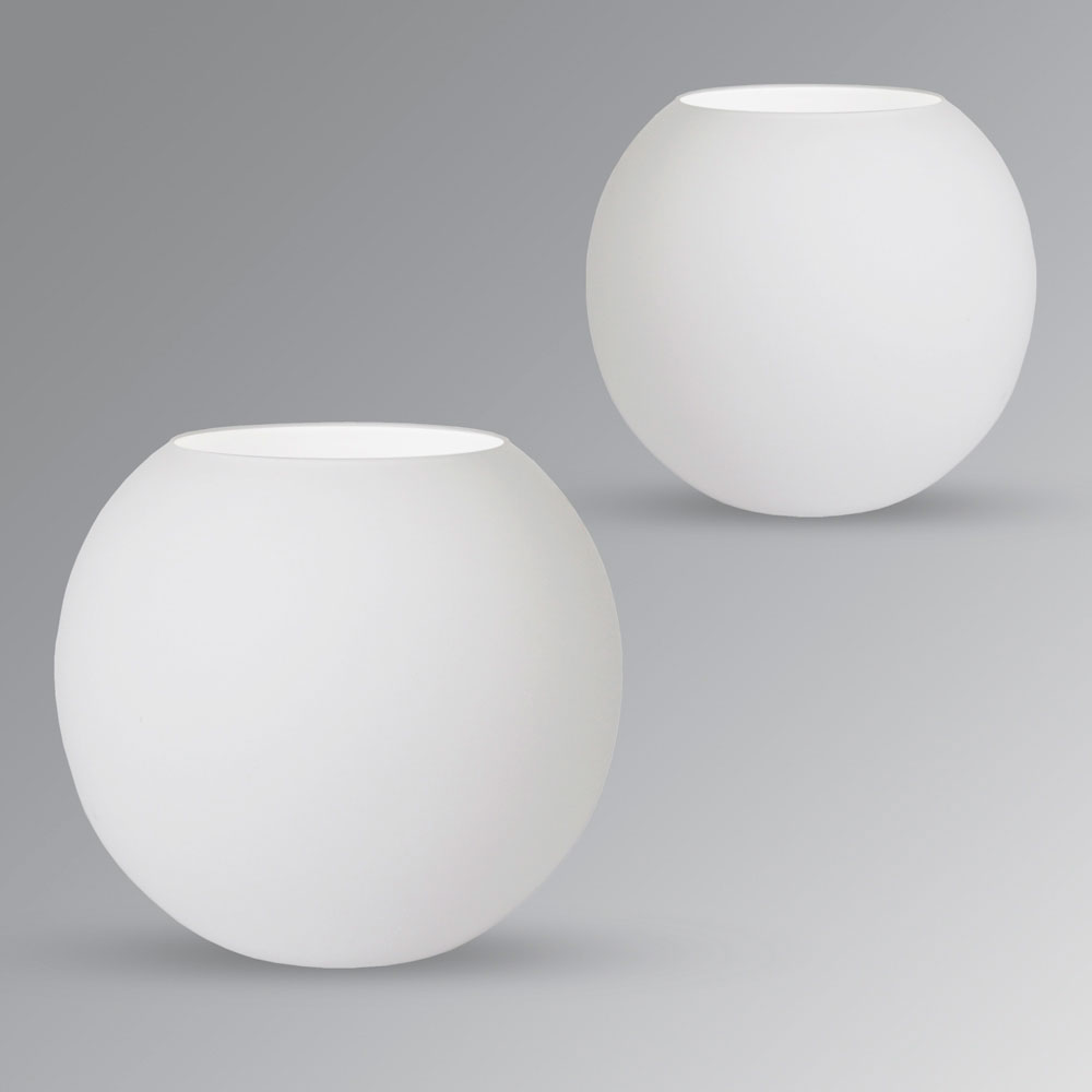 Pair Of Modern White Round Glass Globe Bedside Table
