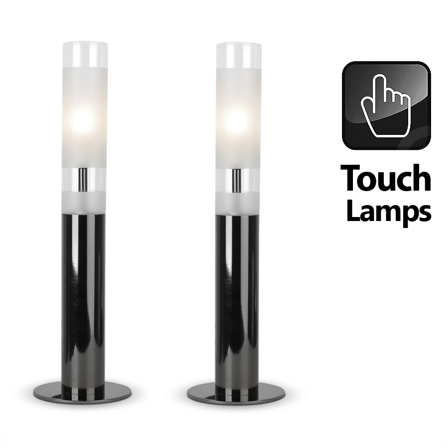 Pair of Black Chrome Touch Table Lamps Frosted Glass Shades Lounge ...