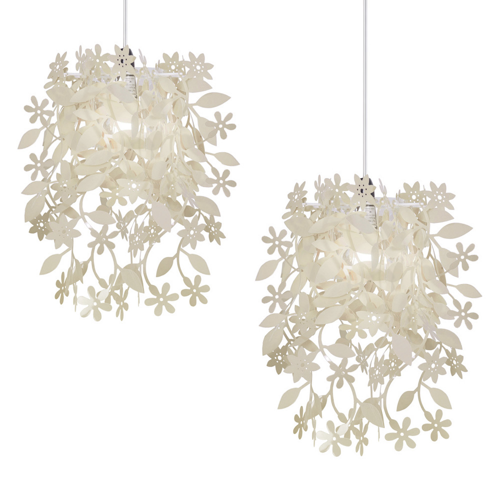 pair of modern cream shabby chic ceiling light shades chandeliers lampshades new ebay. Black Bedroom Furniture Sets. Home Design Ideas