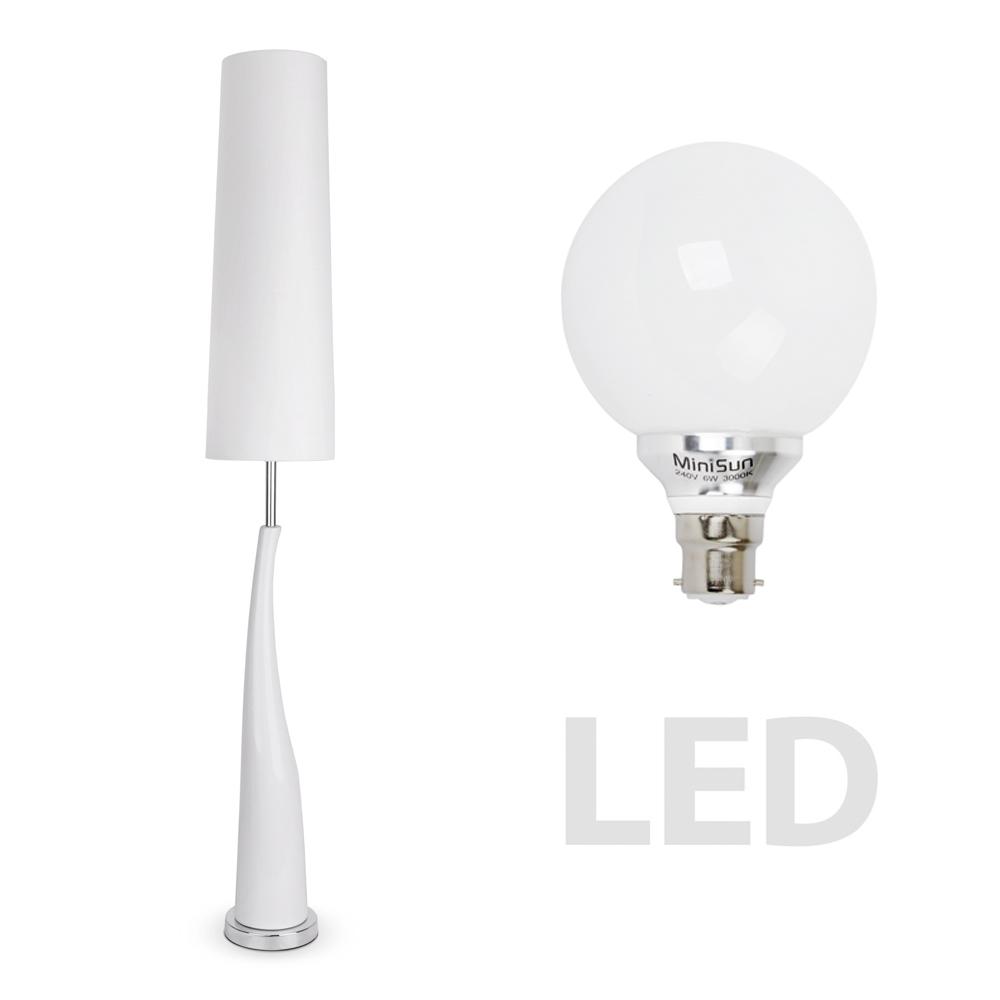 modern led white ceramic chrome floor standing standard lamp light lamps ebay. Black Bedroom Furniture Sets. Home Design Ideas