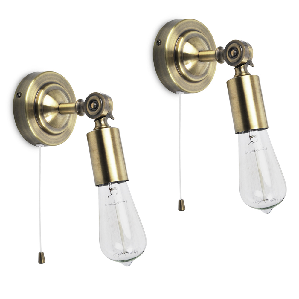 Pair of Vintage Industrial Style Antique Brass Pull Cord Switch Wall Lamp Lights eBay