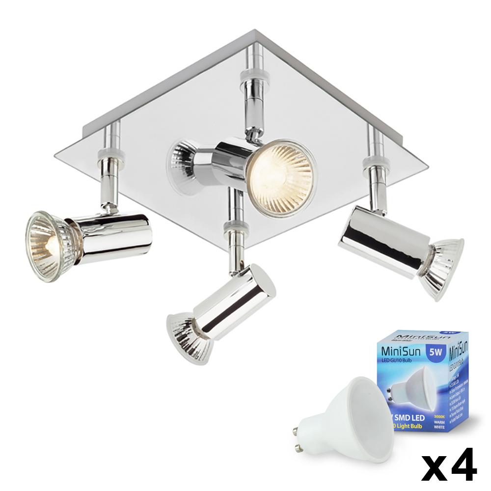 Modern Silver Chrome 4 Way LED Kitchen Ceiling Spot Light