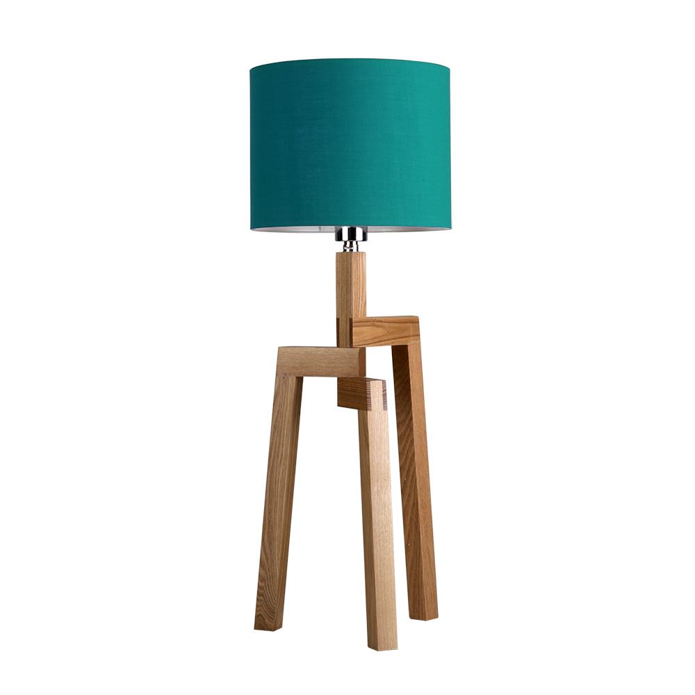 modern large light wood tripod table lamp teal shade lampshade lounge light. Black Bedroom Furniture Sets. Home Design Ideas