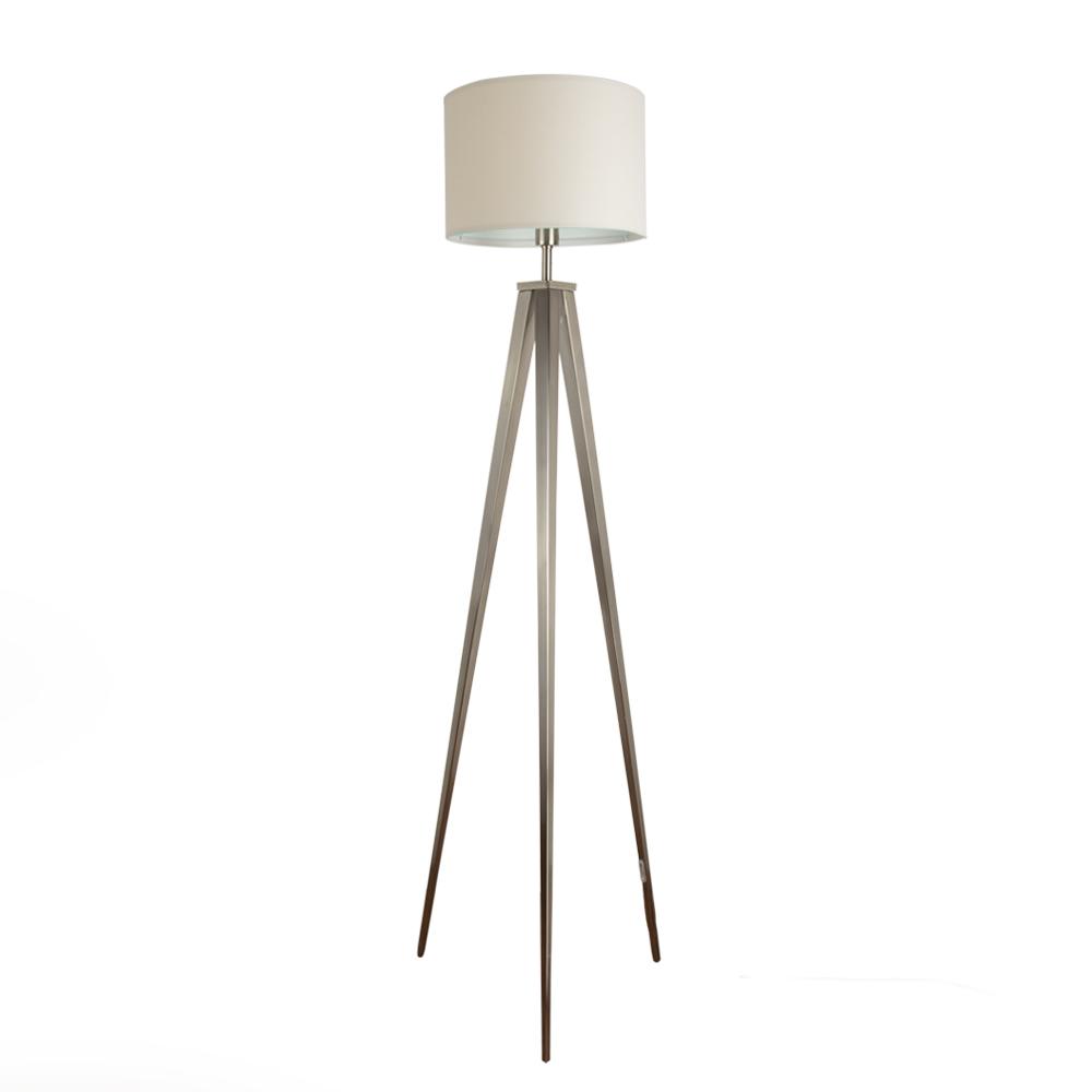 Modern large brushed chrome tripod floor standard lamp for Large cream floor lamp