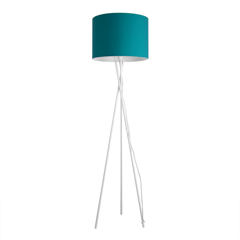Contemporary Gloss White Floor Standard Lamp Teal Cylinder Shade Lampshade