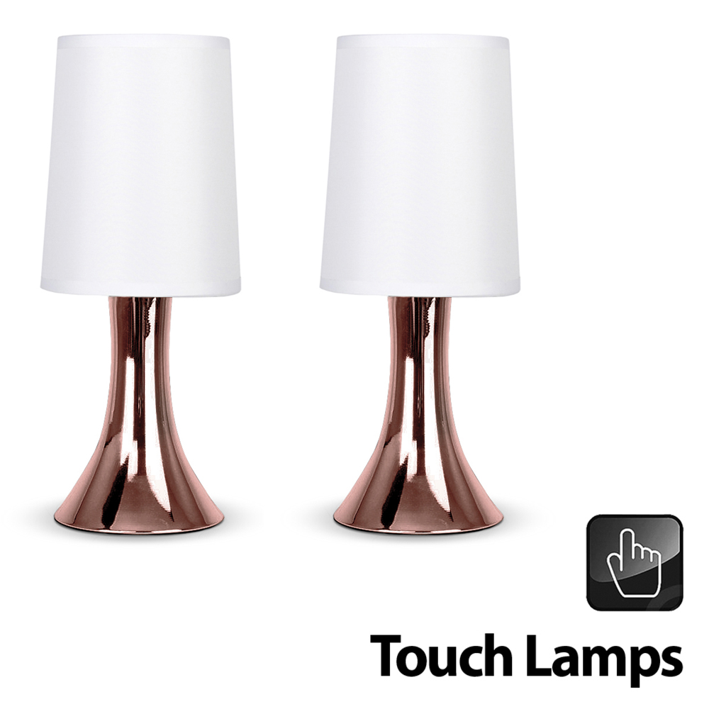 2 x copper touch table lamps white shade lampshades for Bedside table lamp shades