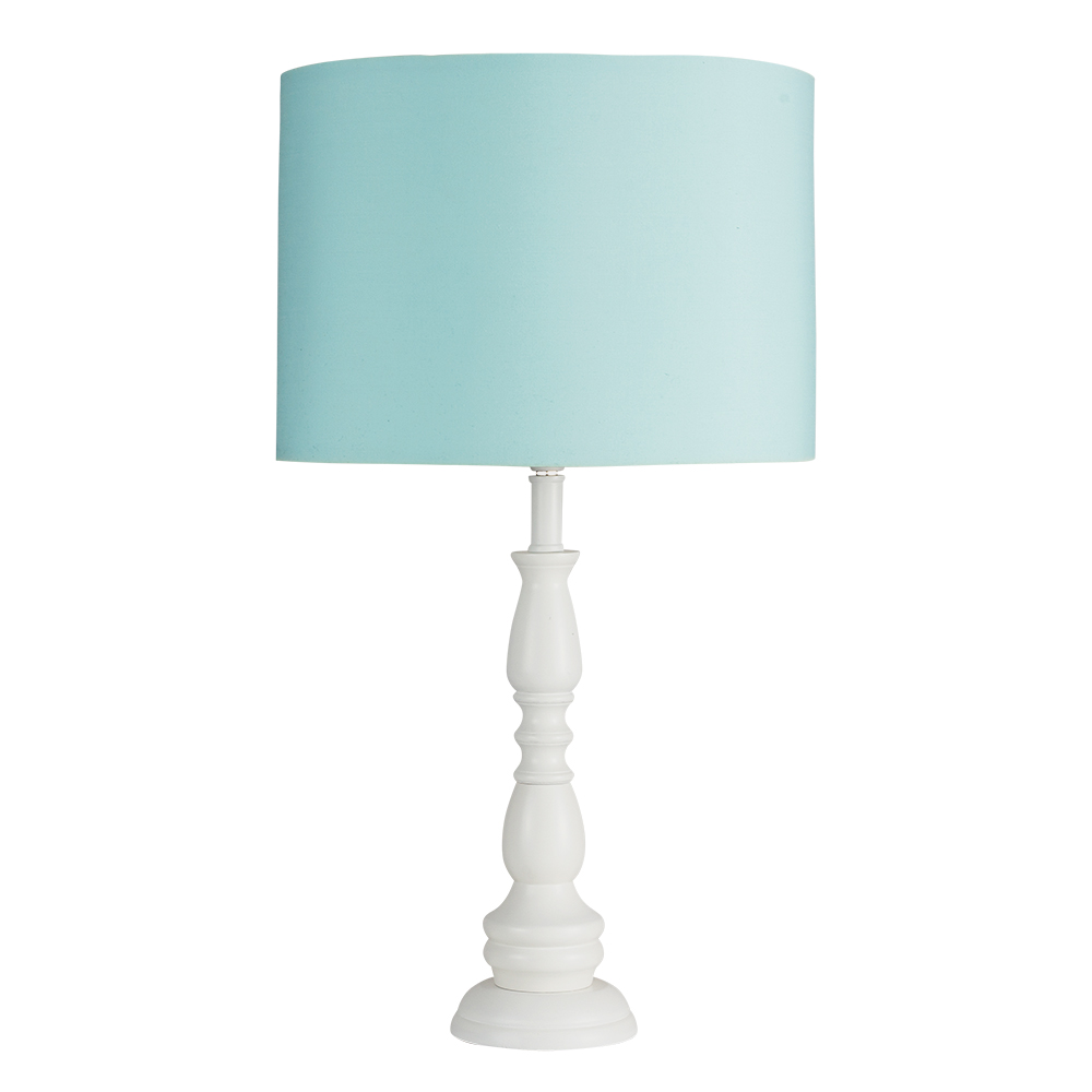 Modern white wooden candle stick table lamp duck egg blue cylinder minisun light aloadofball Images