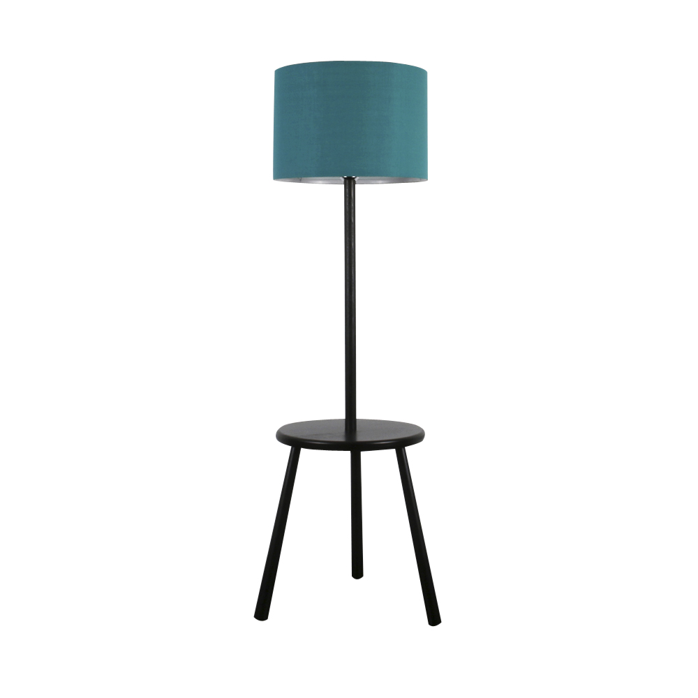 contemporary gloss black wood 3 legged floor lamp with table teal lampshade ebay. Black Bedroom Furniture Sets. Home Design Ideas