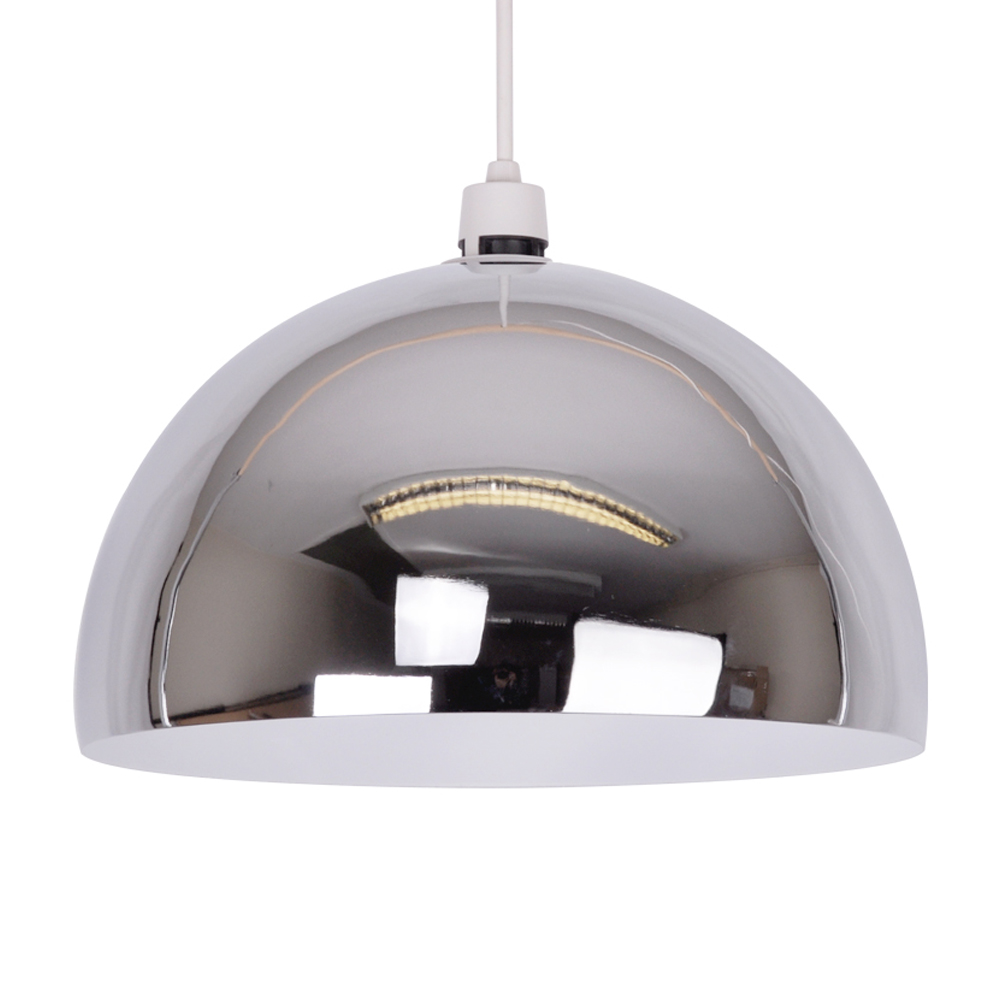 Contemporary Silver Chrome Ceiling Pendant Light Lamp Shade Lampshade Lights