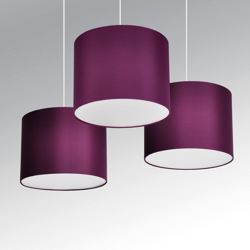 Set of 3 modern purple plum ceiling lights pendant light for Floor lamp with plum shade
