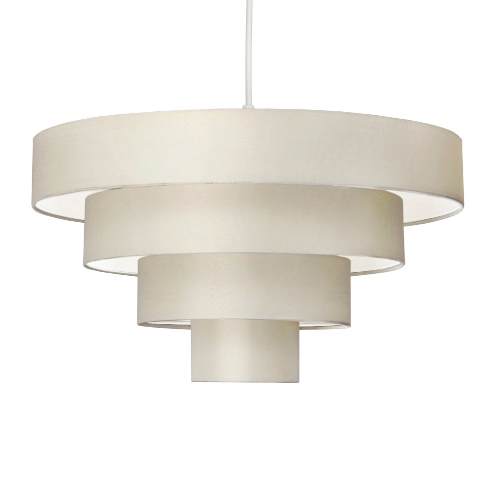 Ceiling Lamp Shade Materials: Modern Easy Fit Cream Fabric 4 Tier Ceiling Light Pendant