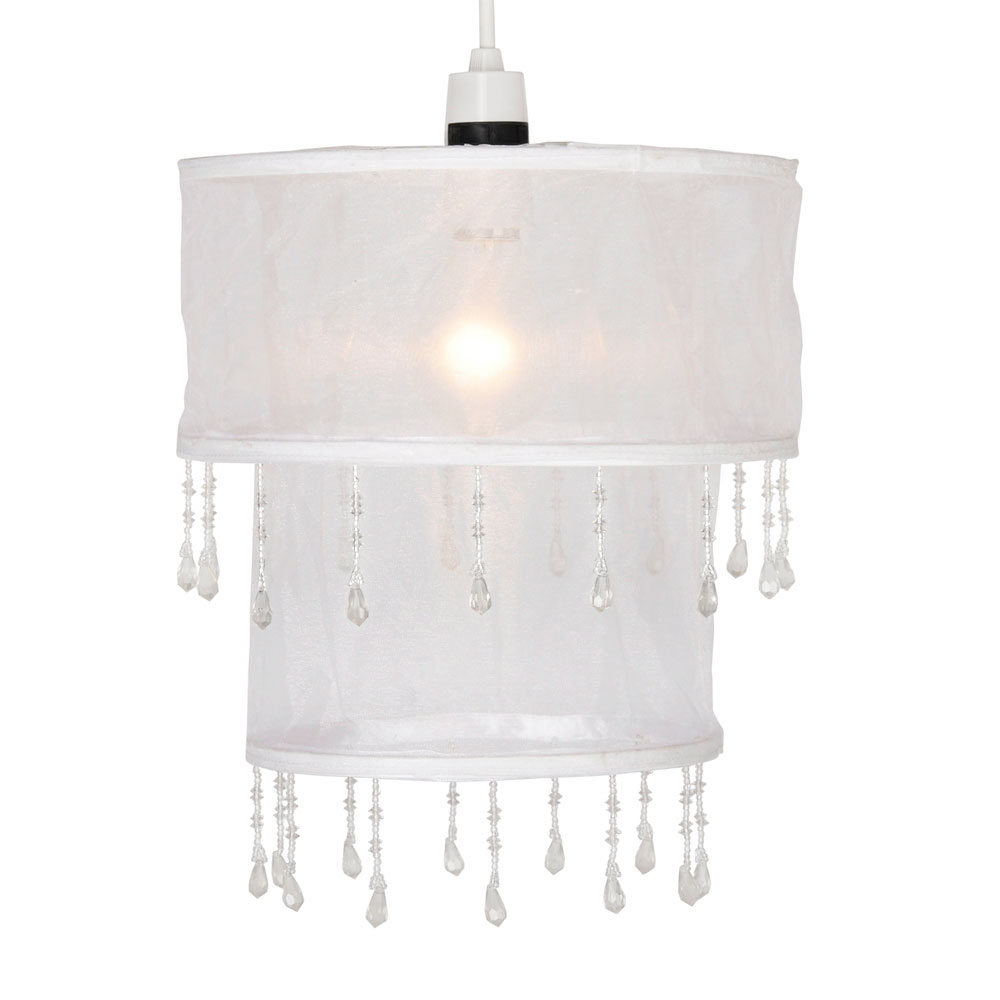 Vintage Style White Voile Shabby Chic Round Beaded Ceiling Light ...