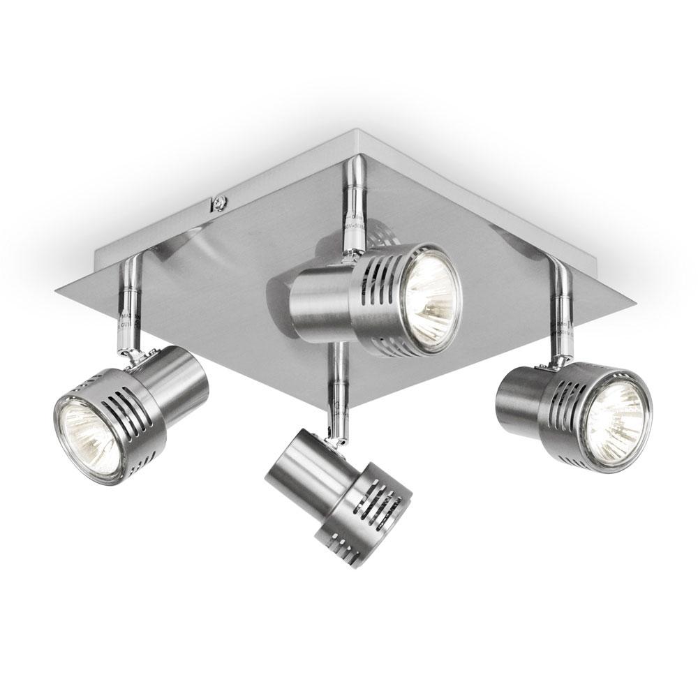 Kitchen Ceiling Light Fittings Modern Square Brushed Chrome Gu10 Kitchen Ceiling Light Fitting