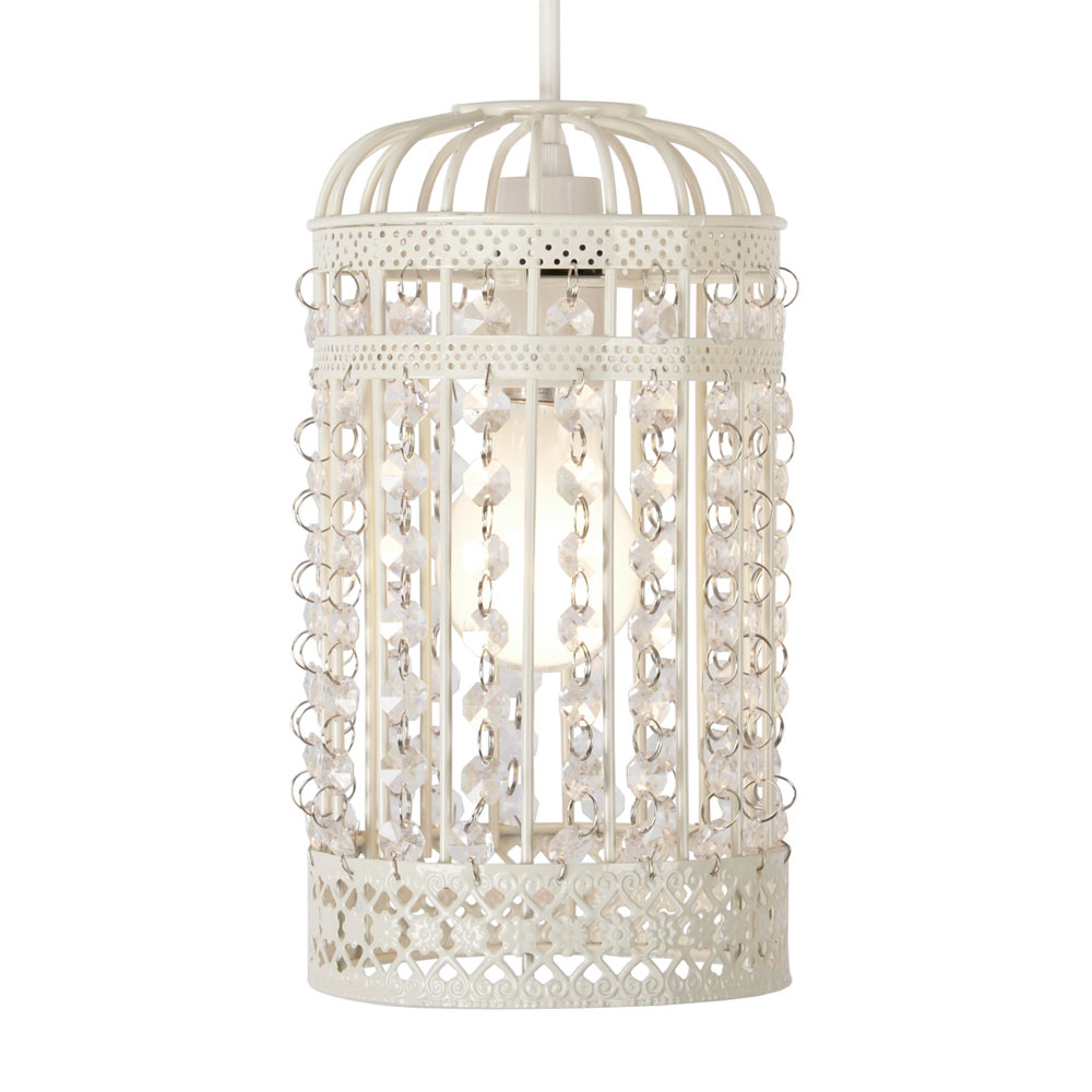 Cream vintage shabby chic style birdcage ceiling light pendant minisun light arubaitofo Choice Image