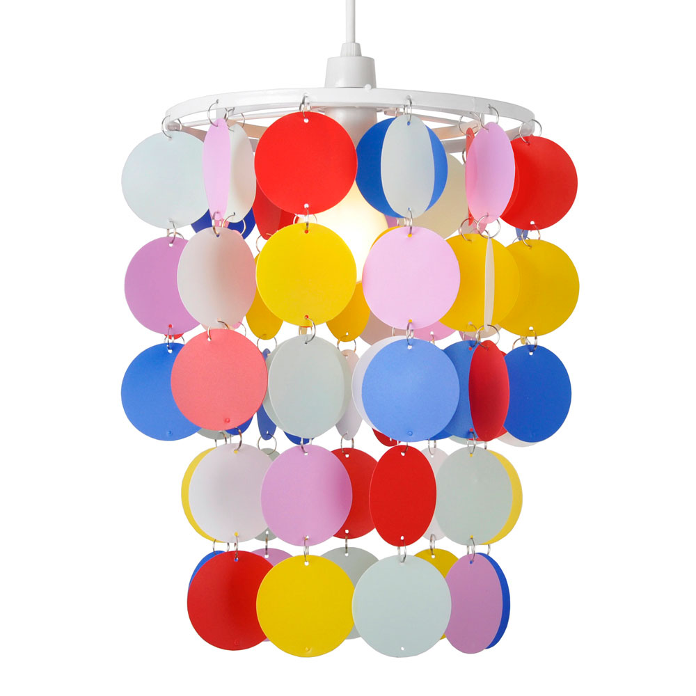 Childs bedroom nursery multi coloured polka dot spots ceiling minisun light aloadofball Image collections