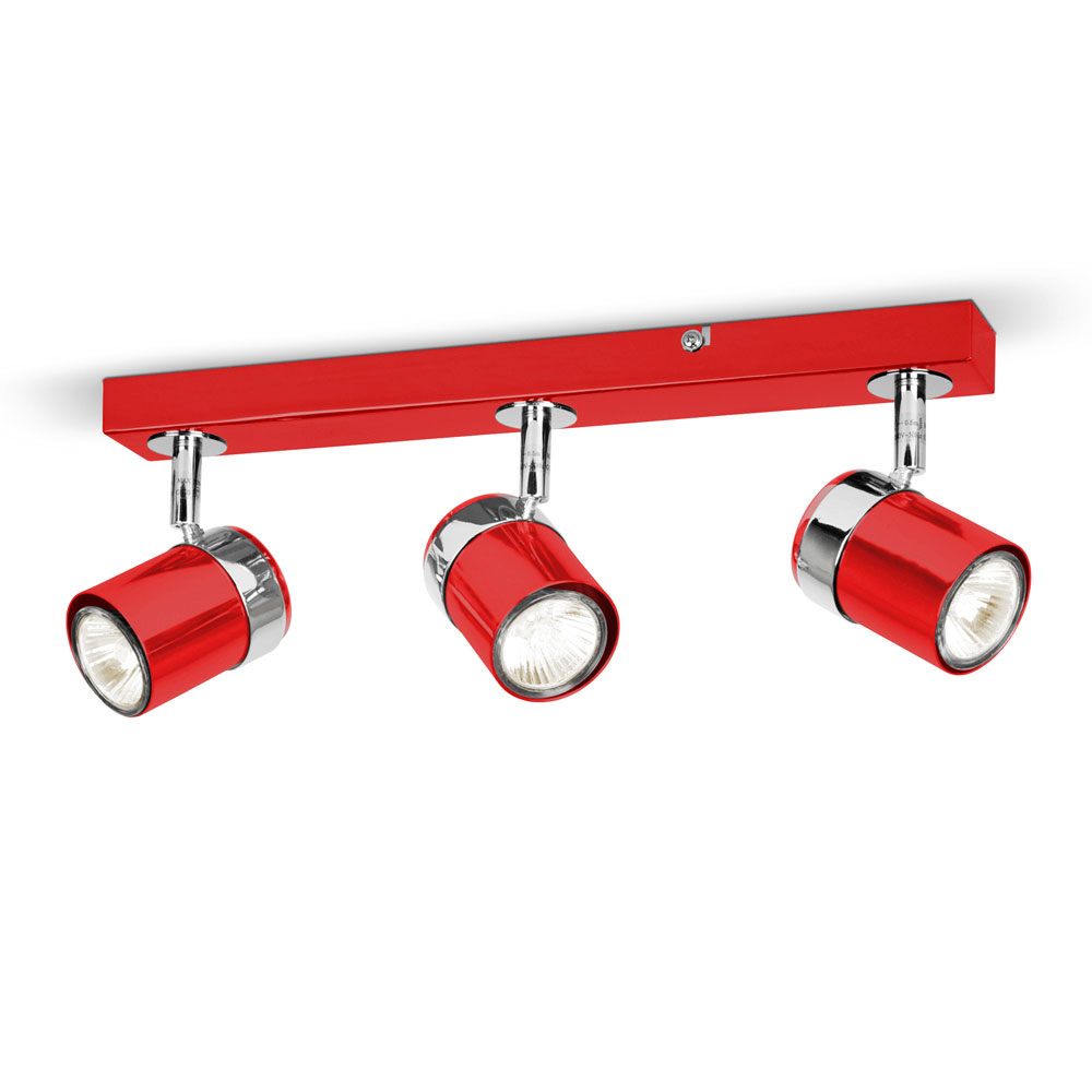 Red Kitchen Lamp: Modern Gloss Red Silver Chrome 3 Way Kitchen Ceiling Light