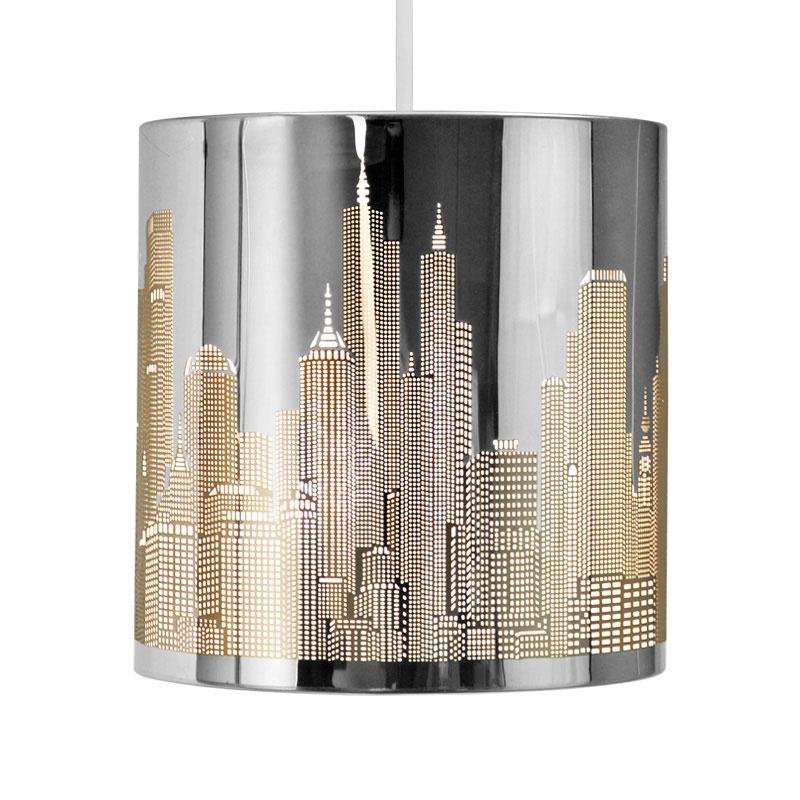 Light Fixtures Rochester Ny: New York Skyline Silver Chrome Metal Ceiling Light Lamp