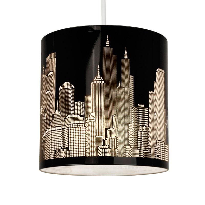 Modern New York Skyline Gloss Black Ceiling Pendant Light Lamp Shade Lampshade Ebay