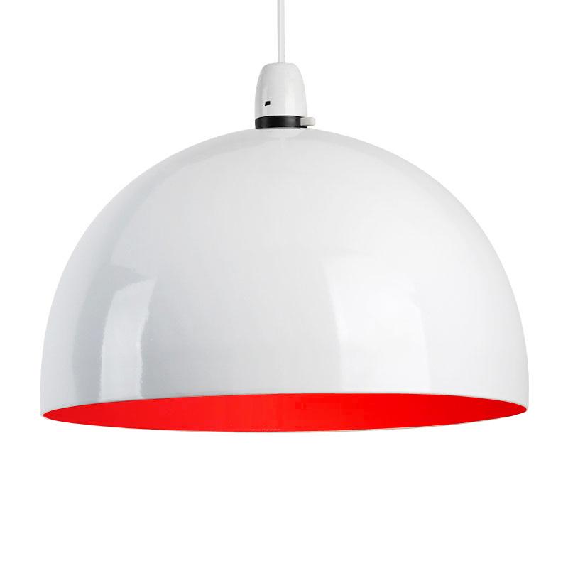 Modern Red Pendant Lighting : Retro style gloss white red metal ceiling pendant light