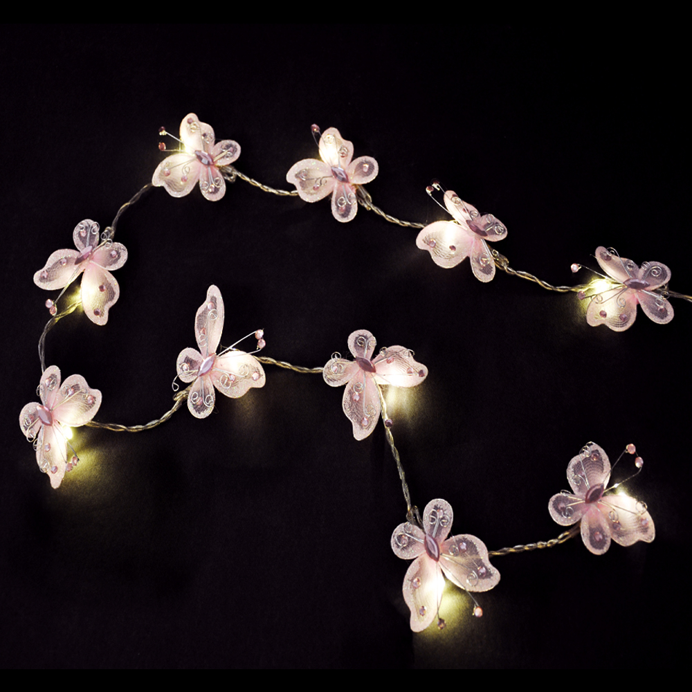 Pink String Lights For Bedroom : Pair of Pink Butterfly Girls Bedroom 10 LED Fairy String Lights Chain Lamp Set