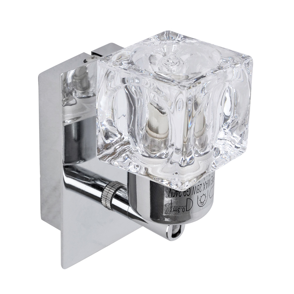Wall Light Fitting Instructions : Modern Silver / Chrome Glass Ice Cube Indoor Wall Sconce Light Fitting inc Bulb