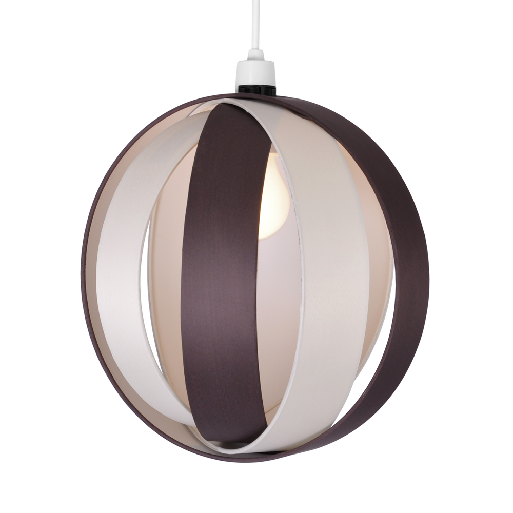 Easy Ceiling Lamp Shade: Modern Cream & Chocolate Brown Cocoon Ceiling Light