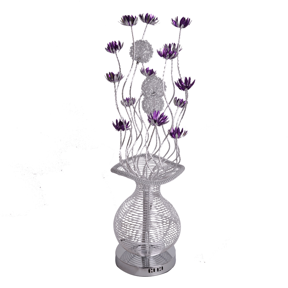 Large modern aluminium floor lamp flower vase design silver and purple light ebay - Great decorative flower vase designs ...
