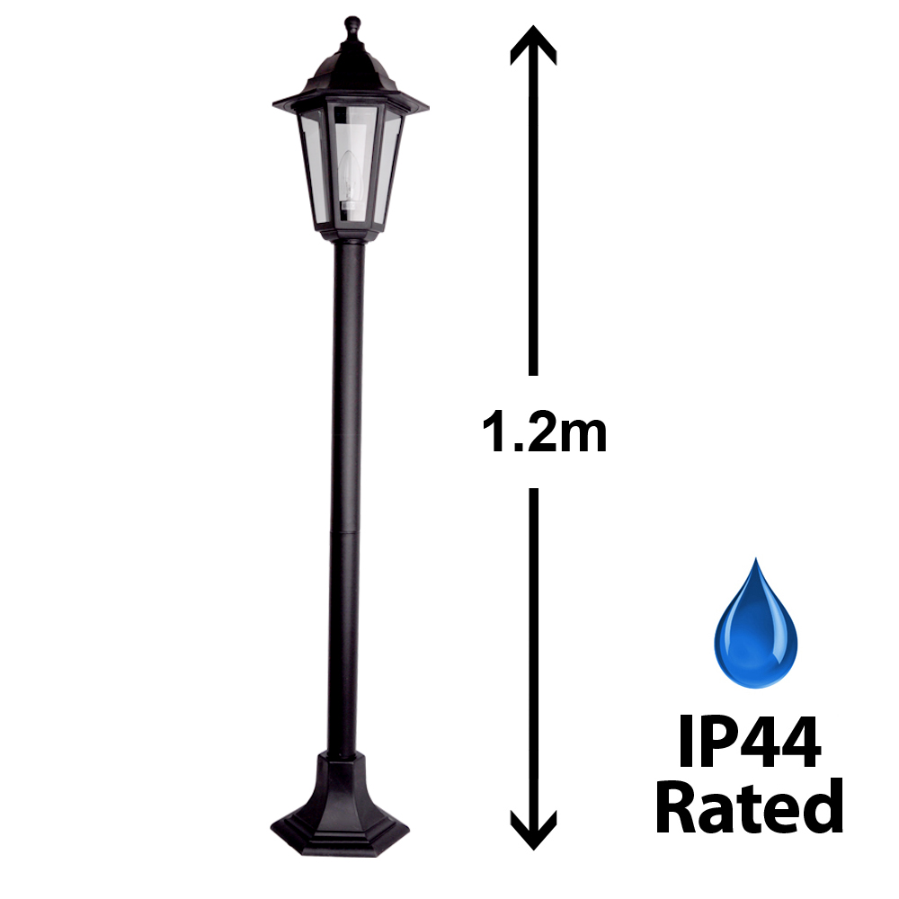 Traditional Black Outdoor Garden Patio Driveway Lamp Post Lantern