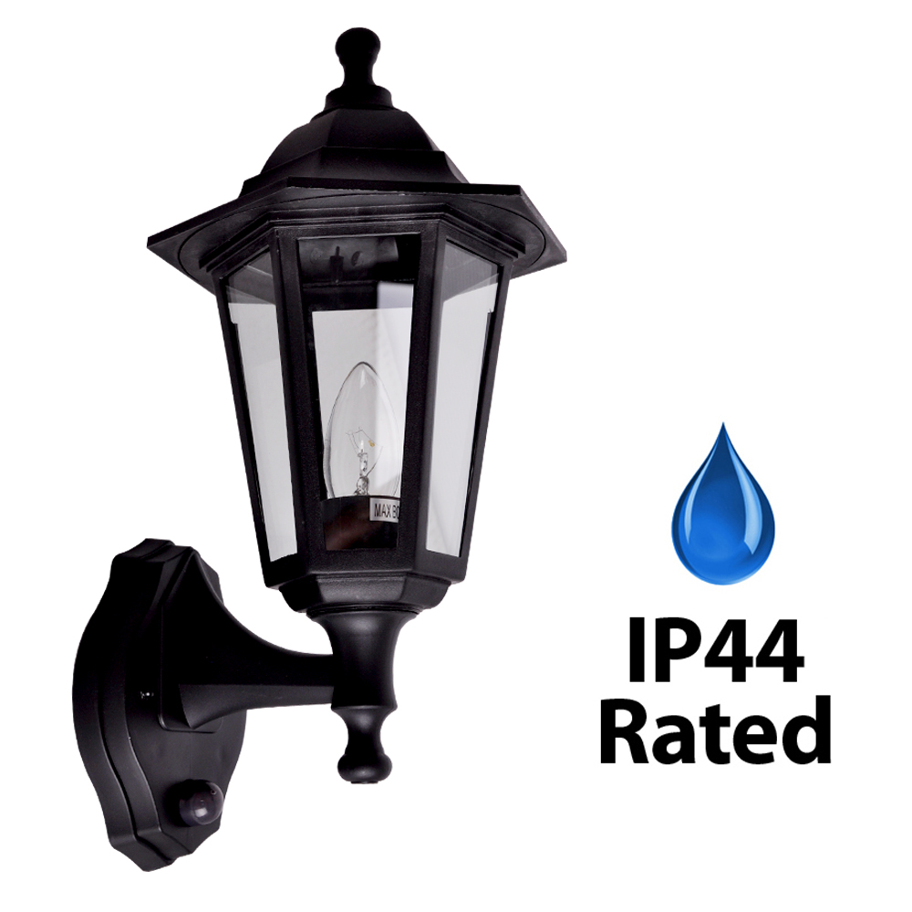 Lantern Type Wall Lights : Classic Black Vintage Style IP44 Outdoor Garden PIR Sensor Wall Light Lantern