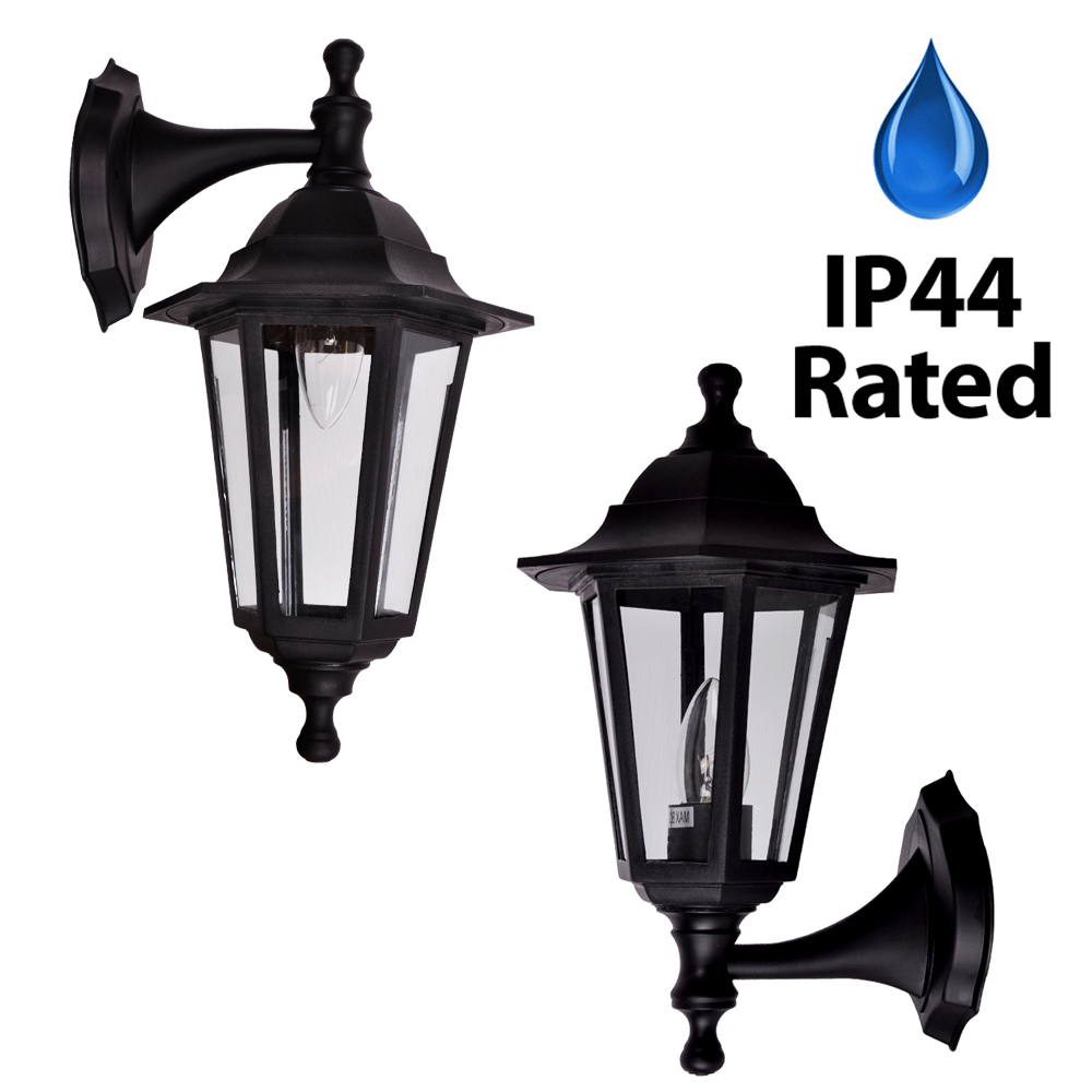Traditional Black IP44 Outdoor Garden Patio Wall Security Light Lantern Lamp eBay