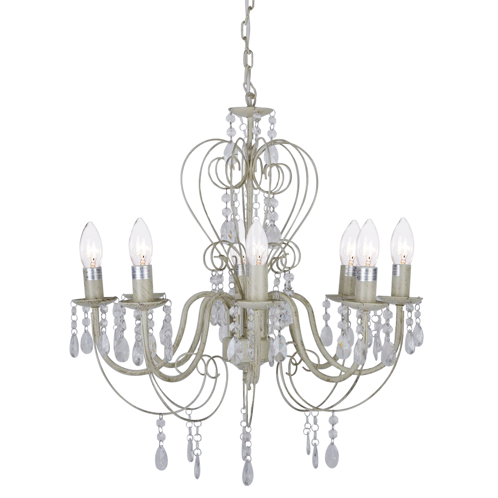 vintage shabby chic style 8 way chandelier ceiling light fitting cream white new ebay. Black Bedroom Furniture Sets. Home Design Ideas