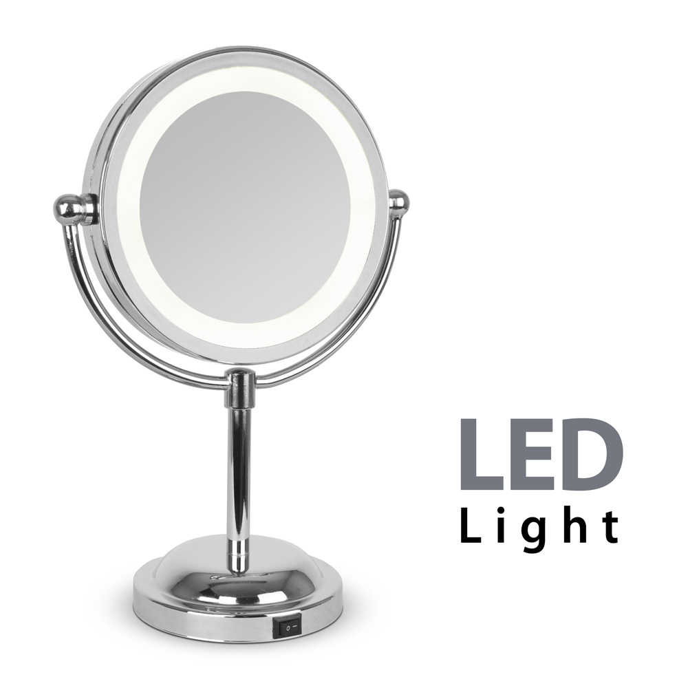 round silver free standing led light make up vanity dressing table mirror gift ebay. Black Bedroom Furniture Sets. Home Design Ideas