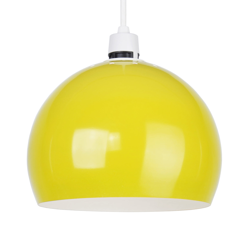 Ceiling Lights Yellow : Retro style gloss yellow metal ceiling pendant light lamp