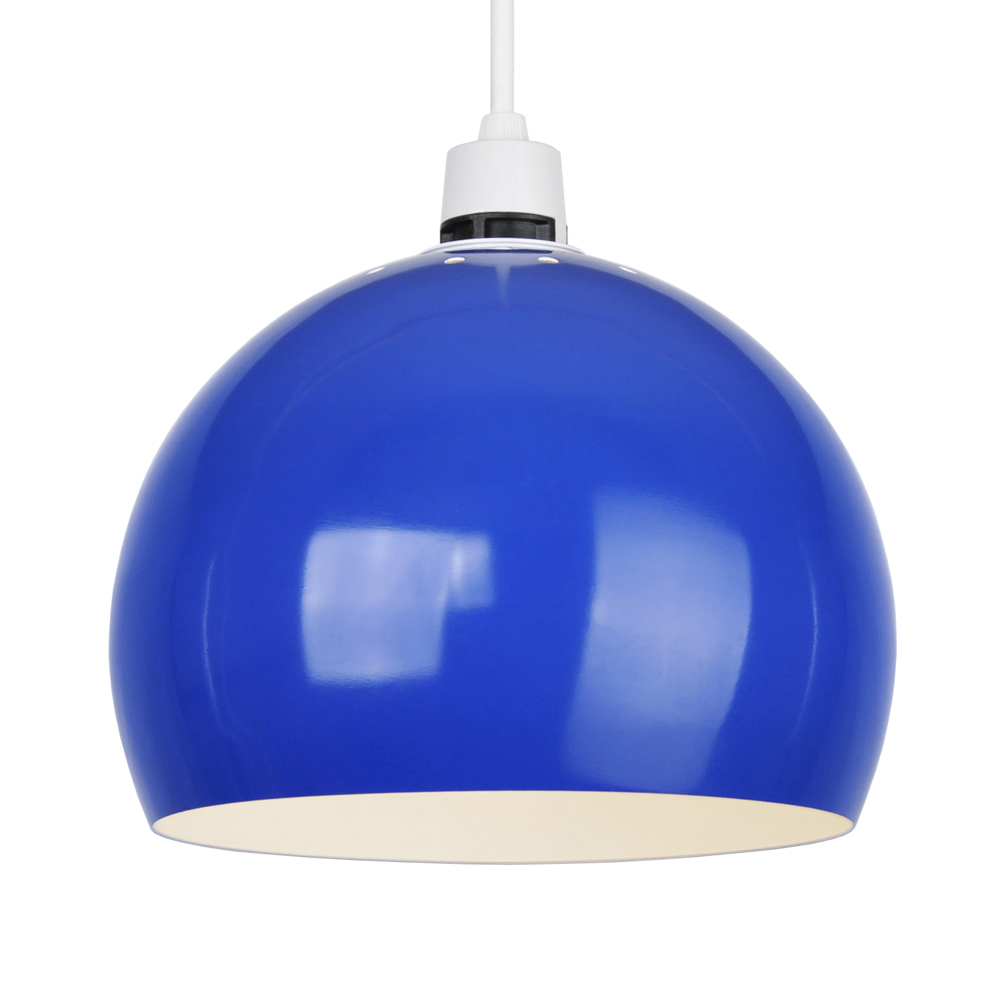 Dome Lamp Shades: Modern Blue Metal Dome Round Ceiling Pendant Light Lamp