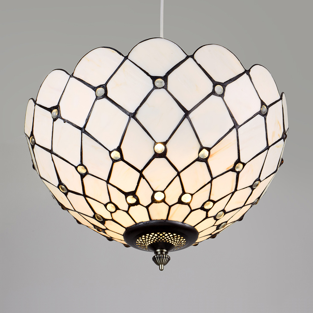 Antique Tiffany Hanging Lamp Value: Vintage Tiffany Style Antique Brass Cream Glass Ceiling