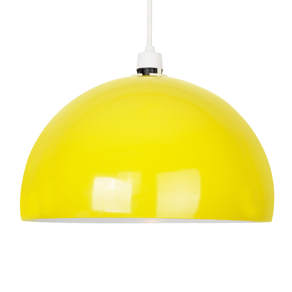 Retro Style Gloss Yellow Metal Ceiling Pendant Light Lamp