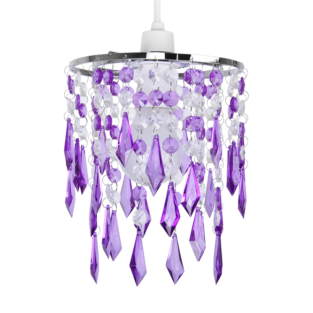 Modern purple clear acrylic crystal ceiling light lamp shade uk company uk stock mozeypictures Image collections
