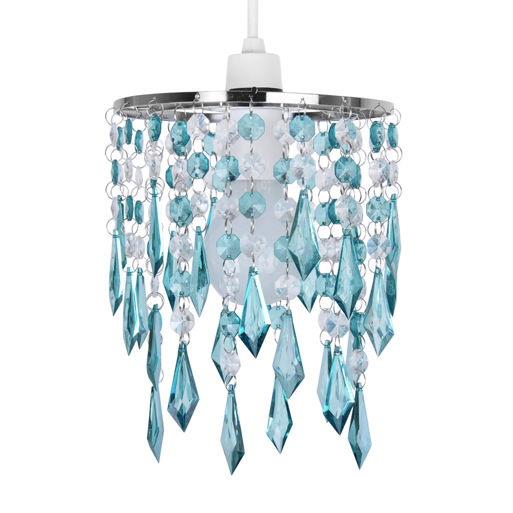Teal Blue Green Acrylic Crystal Ceiling Light Lamp Shade