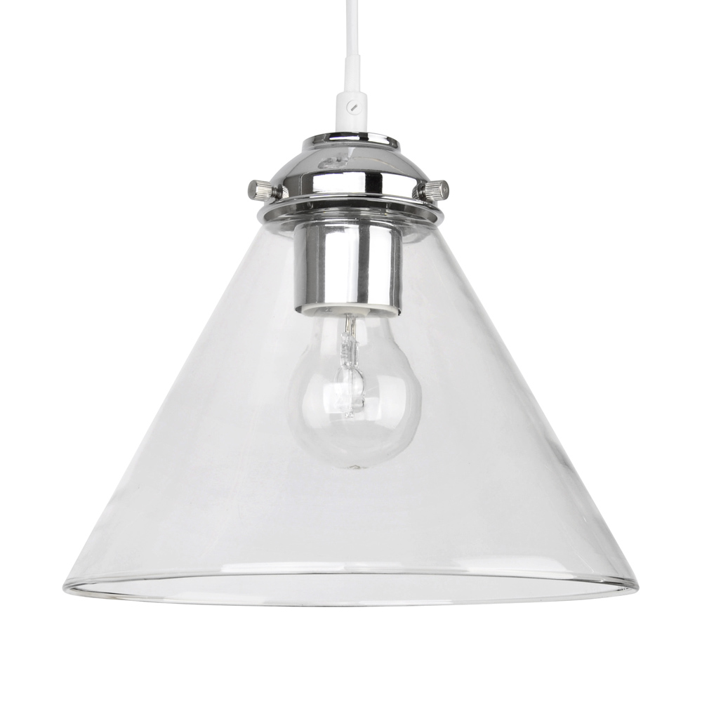 Hanging Light Fittings Wholesale: Modern Silver Chrome Clear Glass Round Ceiling Pendant