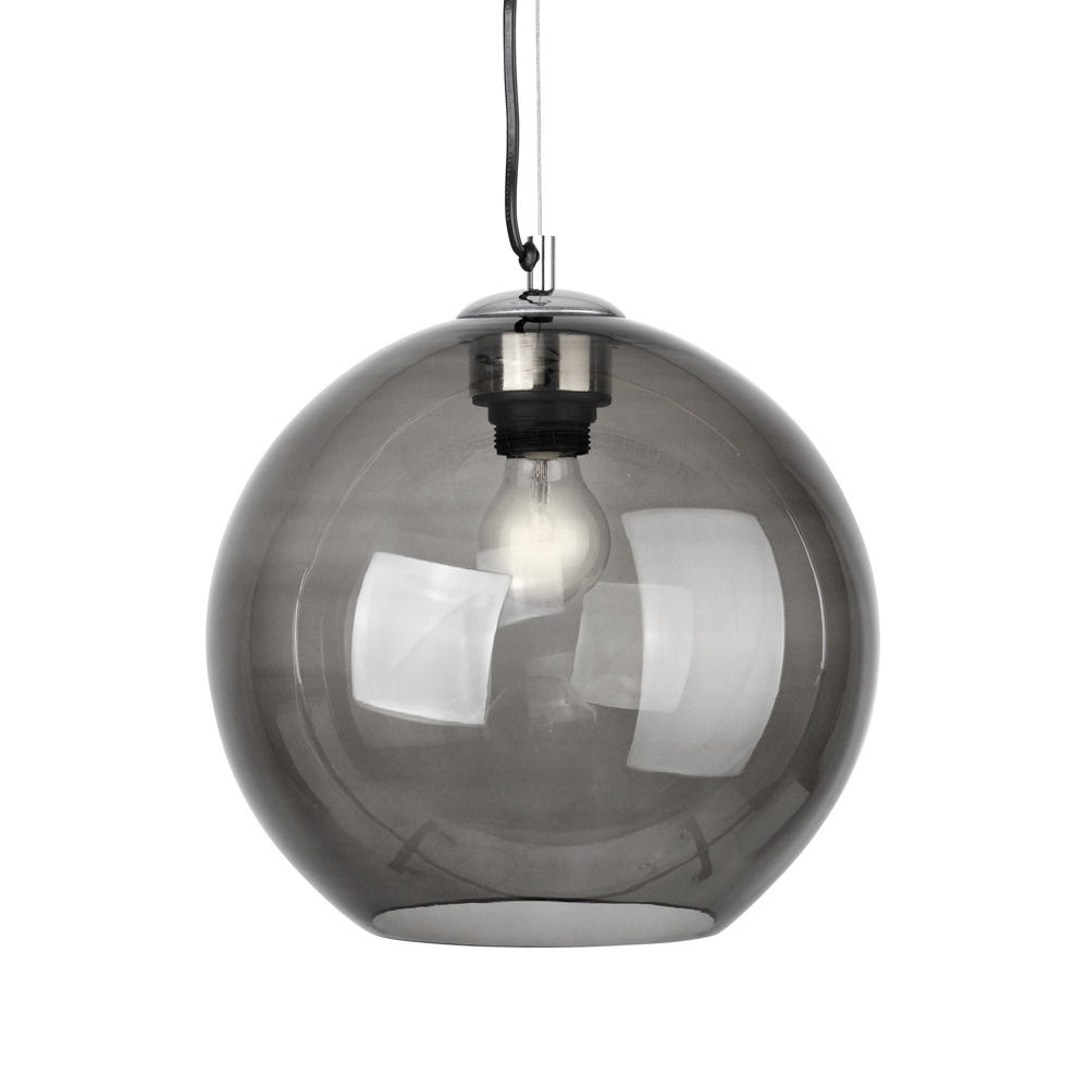 Contemporary Chrome & Grey Smoked Glass Ceiling Light Fitting