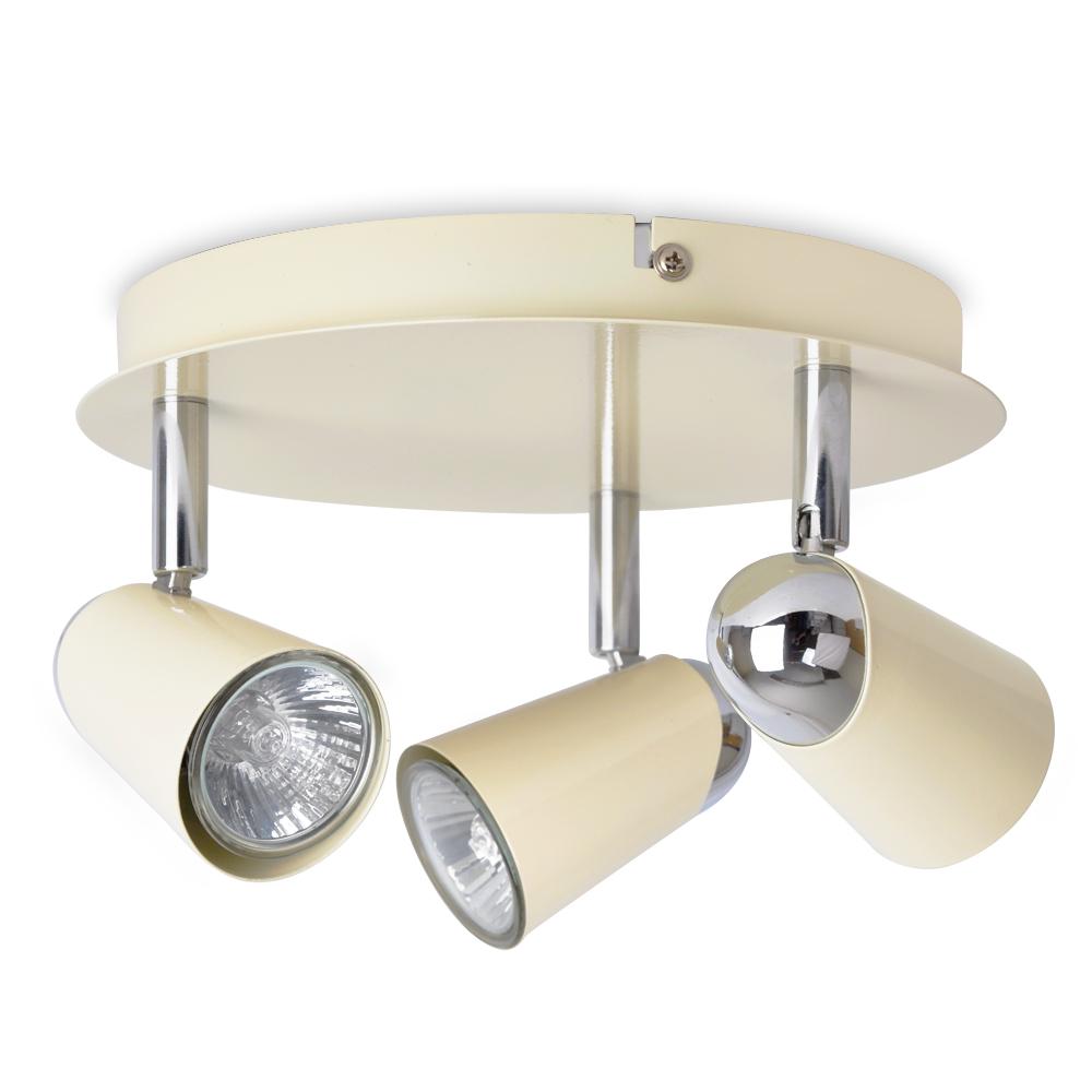 Kitchen Ceiling Lights Spotlights: Modern Cream / Chrome 3 Way Round Kitchen Ceiling Spot
