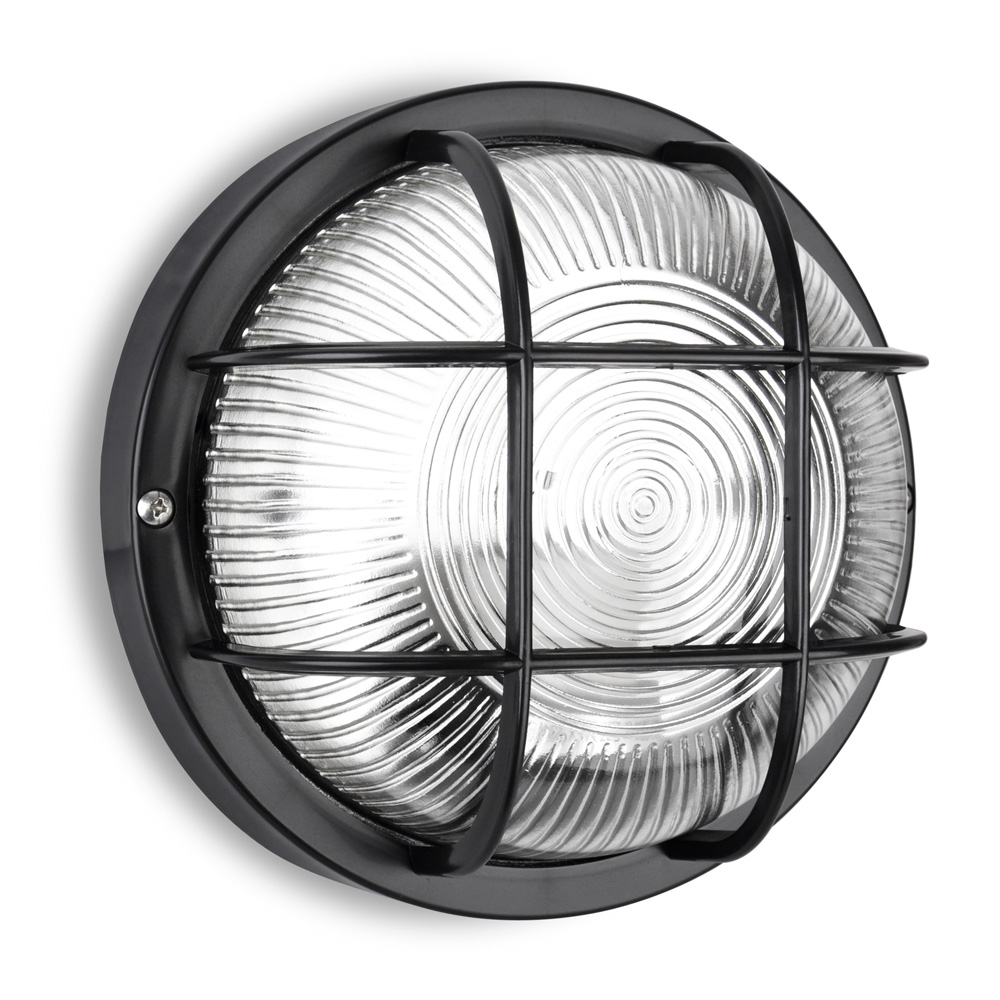 Ip44 round black outdoor exterior security bulkhead wall light lantern lights ebay for Round exterior lights