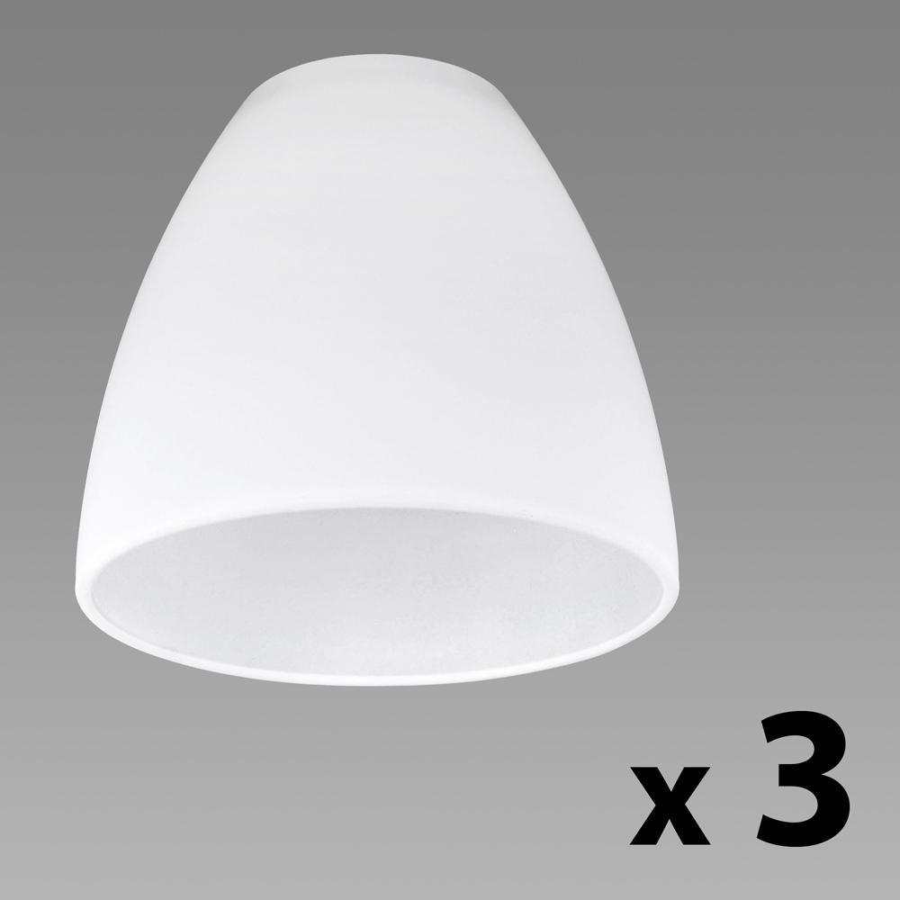 set of 3 white glass replacement ceiling wall light shade. Black Bedroom Furniture Sets. Home Design Ideas