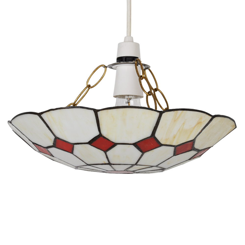 Ceiling Lights Tesco Direct : Traditional cream red non electric stained glass ceiling