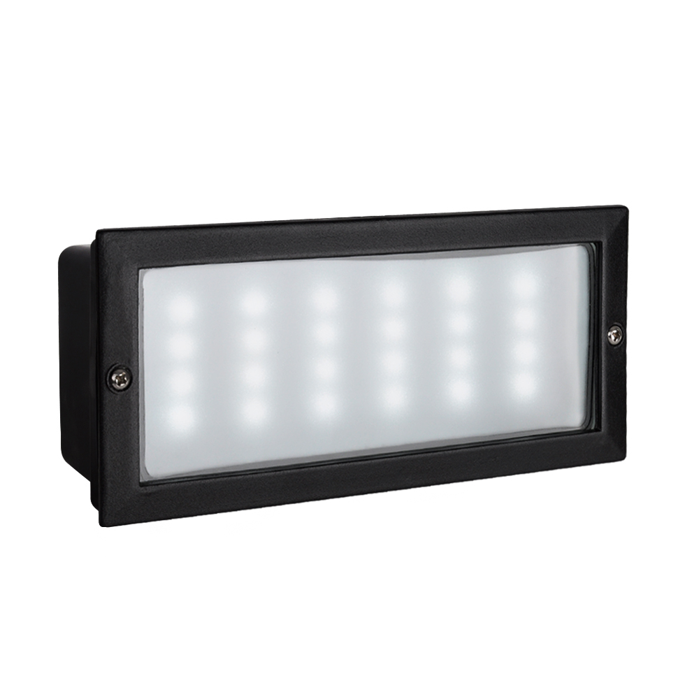 Modern Recessed Black Aluminium Outdoor Garden LED Brick Wall Light IP54 Pati