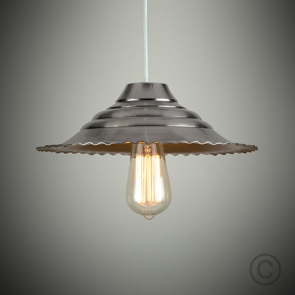 Old Fashioned Metal Lamp Shade: Vintage Industrial Style Brushed Chrome Metal Ceiling