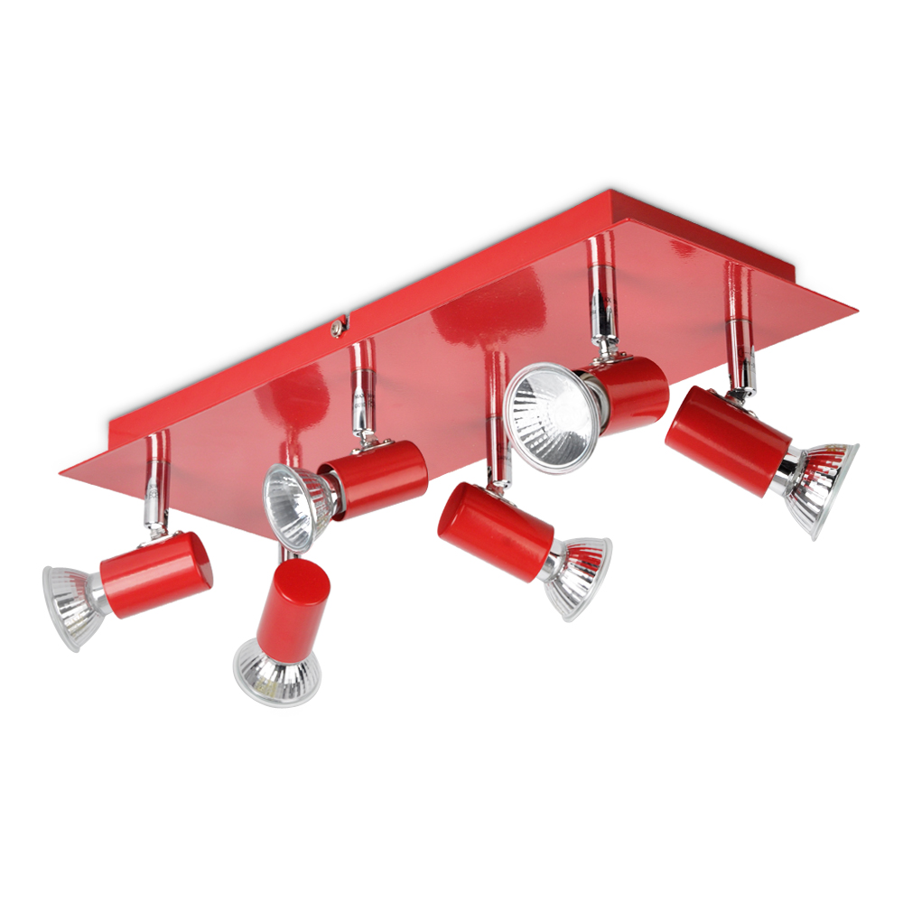 Modern Gloss Red And Chrome 6 Way Kitchen Ceiling Spot